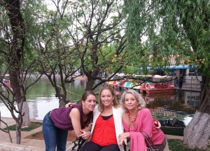 The three Ingersoll girls in Kunming Lake in downtown