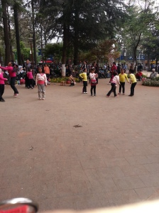 Public dance lesson for little girls at the lake