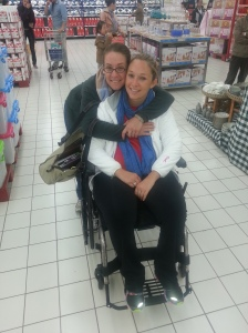 Sisterly love while out shopping at Carrefour