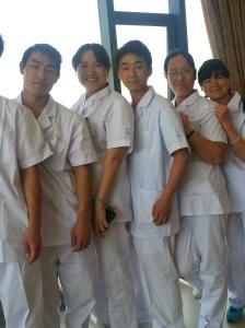 From the left: Xiao Mai, Shenjie, Xiao Kong, Niufang, (New PT 3rd day on the job, Xiao Liu)