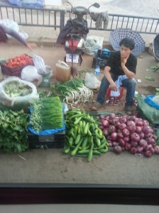 Looks like a typical vegetable market, but picture taken from inside the car window. This went on for miles